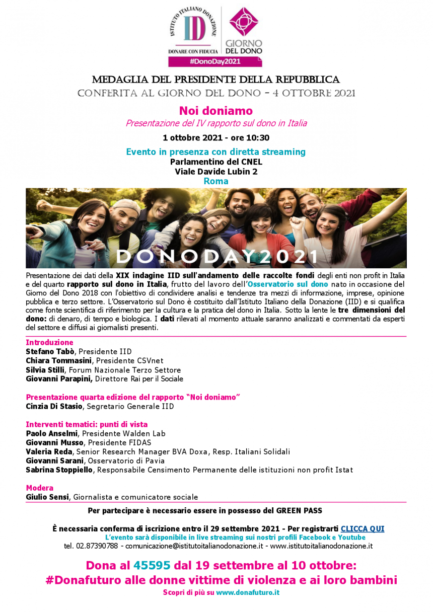 Programma Noi Doniamo – 1 ottobre 2021